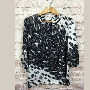 Chico's Blouse Large 2 Long Sleeve Animal Print